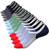 M&Z Mens Cotton Low Cut No Show Casual Crew Ankle Non-Slide Socks, 6 Pairs (Multicolor), One Size
