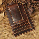 Le'aokuu Genuine Leather Magnet Money Clip Credit Case Case Holder Slim Wallet (Coffee)