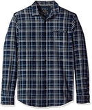 A|X Armani Exchange Men's Herringbone Regular Fit Long Sleeve Woven, Htr Chek Blue, Medium