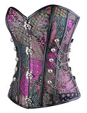 Charmian Women's Steampunk Gothic Spiral Steel Boned Brocade Waist Cincher Overbust Corset with Chains Purple Large