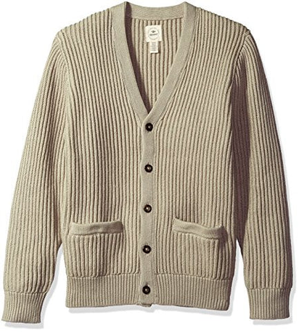 Dockers Men's Cotton Cashmere Long Sleeve Button Front Cardigan, Safari Beige, Small