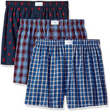 Tommy Hilfiger Men's Underwear 3 Pack Cotton Classics Woven Boxers, Red Plaid/Tommy Hilfiger Logo Print/Blue Plaid, Medium