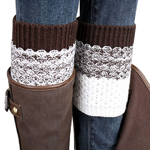 Coromose® 2015 Jacquard Knitted Cuffs Toppers Liner Boot Leg Warmers Socks (Brown)