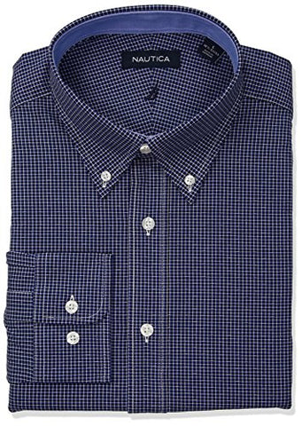 "Nautica Men's Classic Fit Performance Check Button Down Collar Dress Shirt, Indigo, 16.5"" Neck 32""-33"" Sleeve"