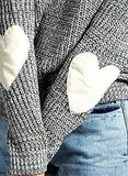 ZXZY Women Heart Pattern Patchwork Long Sleeve Round Neck Knits Sweater Pullover