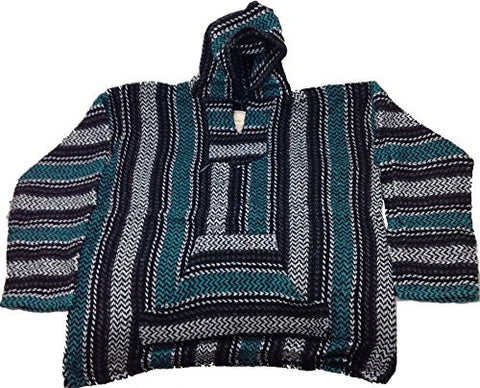 Baja Joe - Premium Woven Baja Hoodie Jerga Mens (Medium, Teal)