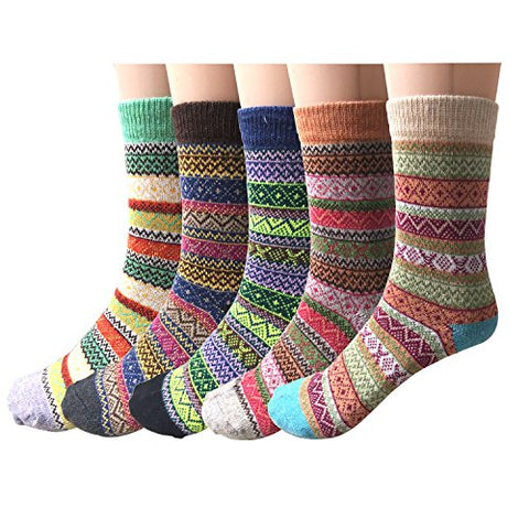 Pack of 5 Womens Vintage Style Cotton Knitting Wool Warm Winter Fall Crew Socks, Mixed Color 1, One Size - fit shoe sizes from 5-10