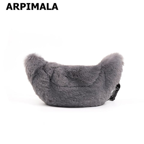 Arpimala Women Faux Fur Fanny Pack Gray Rabbit Fur Chest Bag Big Waist Pack For Winter Travel Shopper Purses And Handbags