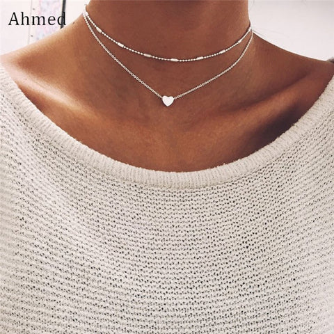 Ahmed Vintage Copper Love Heart Pendant Double Layer Clavicle Choker Necklace Fashion Collar Bijoux For Women Jewelry