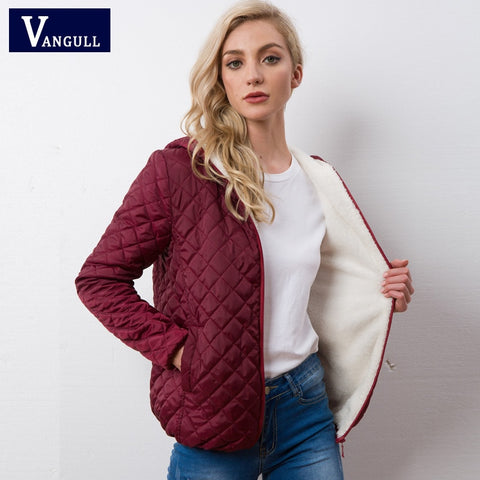 Autumn 2020 New Parkas Basic Jackets Female Women Winter Plus Velvet Lamb Hooded Coats Cotton Winter Jacket Womens Outwear Coat