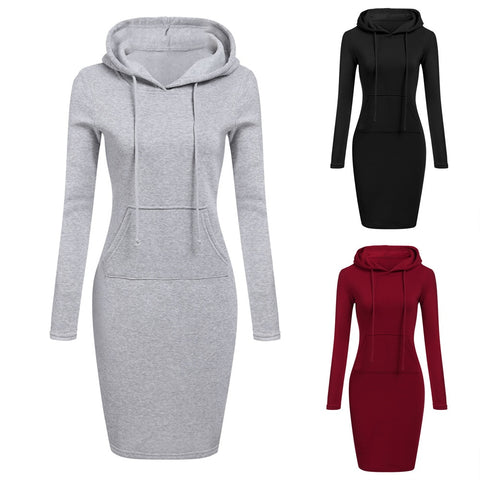 Autumn Winter Warm Sweatshirt Long-Sleeved Dress Woman Clothing Hooded Collar Pocket Simple Casual Lady Dress Vesdies Sweatshirt