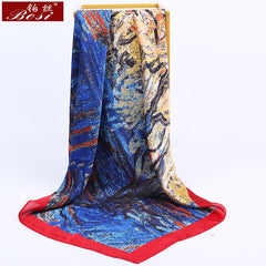 Bosi Fashion Square Head Hijab Print Pink Silk Satin Scarf For Women 90*90Cm Shawl Ladies Print Bandana Women'S Brand Scarves