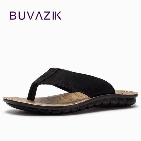 Buvazik 2018 Summer Beach Slippers High Quality Genuine Leather Men Slippers Flip Flops Men Slides Fashion Casual Flip Flop