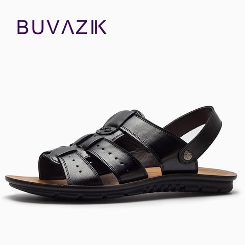 Buvazik Men'S Genuine Leather Summer Sandals Breathable Hard-Wearing Rubber Sole Fashion Gladiator Casual Shoes Men