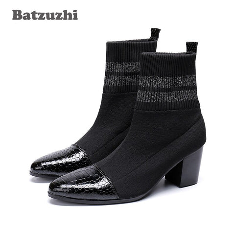 Batzuzhi Italian Type Boots Men Pointed Toe Black Fashion Short Boots For Men 7Cm High Heels Party, Motorcycle Boots Men Botas