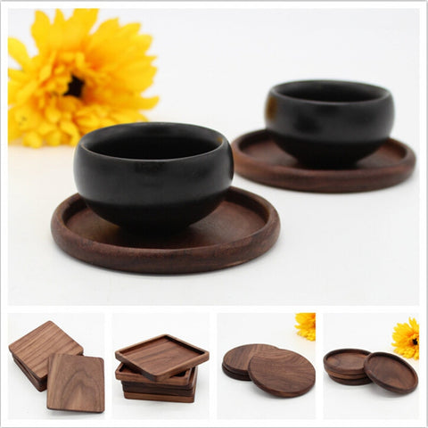 Cfen A'S 1 Pc Black Walnut Wooden Coasters Cup Bowl Pad Mat Coffee Tea Cup Mats Teapot Drink Coasters For Sale