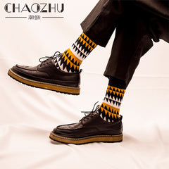 Chaozhu Fashion Men'S Socks Autumn Winter Casual Cotton Crew Socks Men Socks Dots/Stripes Daily Deodorant Socks/Calcetines