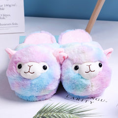 Cute Cartoon Alpaca Home Women Fur Slippers Winter Warm Plush Parent-Child Floor Slides House Flat Bedroom Women Furry Slippes