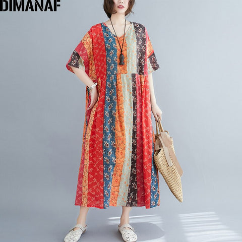 Dimanaf Summer Oversize Long Dress Women Clothing Print Floral Sundress Beach Elegant Lady Vestido Cotton Casual Loose Plus Size