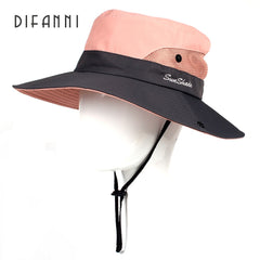 Difanni Big Brim Ladies Summer Hat Youth Sun Hats For Women Sun Shade Hikingbeach Hat Two Tone Bucket Hats Ponytail Caps