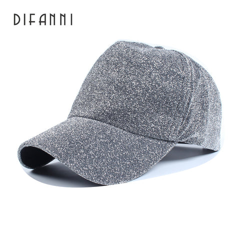 Difanni Brand Winter Baseball Cap Evening Woman Man Cap Shiny Glitter Cotton Couple Hip Hop Adjustable Snap Back Plain Black
