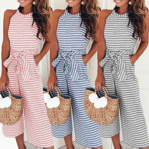 Elegant Sexy Jumpsuits Women Sleeveless Striped Jumpsuit Loose Trousers Wide Leg Pants Rompers Holiday Belted Leotard Overalls