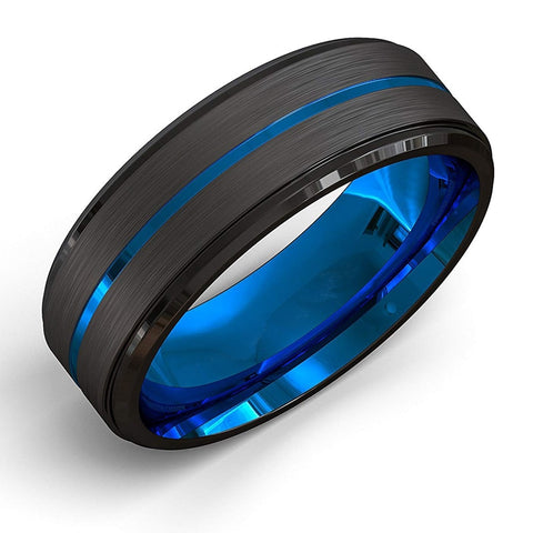 Fdlk  Men'S Fashion 8Mm Black Brushed Ladder Edge Stainless Steel Ring Blue Groove Men Wedding Ring Gifts For Men