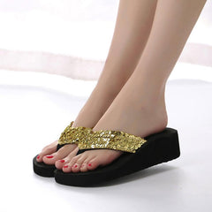 Fashion Women Summer Beach Slippers Sequins Slides Anti-Slip Wedge Indoor Outdoor Thong Mid Heels Platform Slipper Flip-Flops