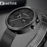 GEEKTHINK Luxury Top Brand Quartz Watches Men's Full stainless steel Black Wrist Watch Casual Relogio Masculino Modern Homme New