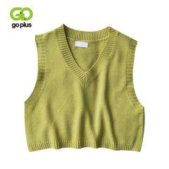Goplus Women V-Neck Knitted Vest 2021 New Spring Autumn Sweater Vests Short Female Casual Sleeveless Twist Knit Pullovers C9510