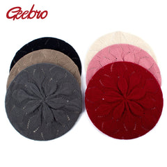Geebro Women'S Plain Color Knit Beret Hat Spring Casual Soft Acrylic Berets For Women Ladies French Artist Beanie Beret Hats