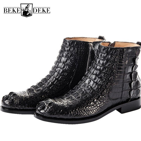 Genuine Crocodile Leather Shoes Men Luxury Business Zip Ankle Boots High Quality British Winter Flat Boots Office Chelsea Booties