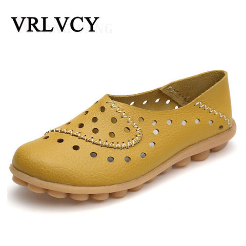 Genuine Leather Woman Loafers New Fashion Women Flat Shoes Female Casual Soft Mother Comfortable Loafers Casual Women'S Shoes
