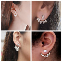 H23 New Imitation Pearl Heart Crystal Flower Leaf Angel Wings Geometry Stud Earrings For Women Statement Ear Jewelry Wholesale