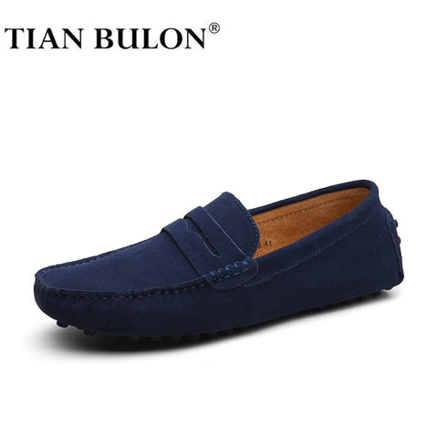 Handmade Suede Leather Mens Shoes Casual Luxury Brand Men Loafers Italian Breathable Driving Shoes Slip On Moccasins Men Zapatos