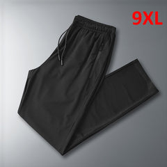 High Quality Casual Pants Men Summer Cool Sweatpants Male Trousers Breathable Elastic Plus Size 8Xl 9Xl Black Pant Hx337