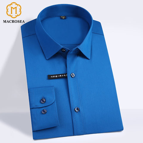 High Quality Classic Style Bamboo Fiber Men Dress Shirt Solid Color Men'S Social Shirts Office Wear Easy Care(Regular Fit)