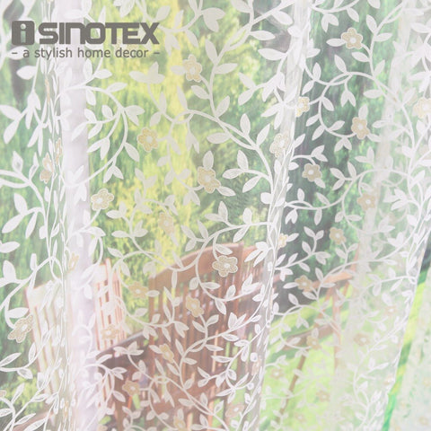 Isinotex Window Curtain Yellow Flowers Leaves Transparent Sheer For Home Living Room Screening Voile Fabric 1Pcs/Lot