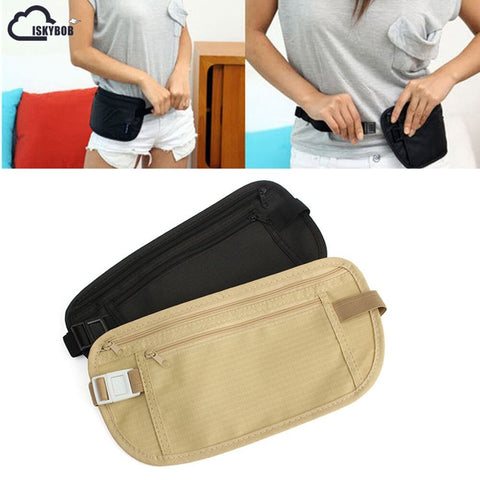 Iskybob Cloth Travel Pouch Hidden Wallet Passport Money Waist Belt Bag Slim Secret Security Useful Travel Bag