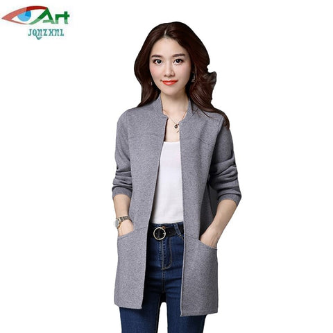 Jqnzhnl2017 Spring Women Cardigans Plus Size Long Sleeved Knitting Cardigans Ladies Solid Color Pockets Sweater Coat Outweare159