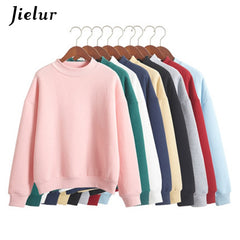 Jielur 9 Solid Colors Harajuku Pink Hoodie Women Fleece Chic Japanese Kpop Sweatshirt Blue Kawaii Sudadera Mujer M-Xxl