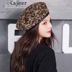 Kajeer Leopard Beret Female Autumn Winter Hats For Women Vintage Painter Flat Cap Boina Feminina Fashion Pu Leather Brim Beanie