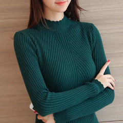 Knitted Sweater Turtleneck Women Winter Autumn 2020 Long Sleeve Female  Slim Thin Ladies Tops Woman Pullovers Pull Femme Hiver