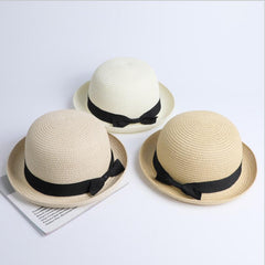 Lady Boater Sun Caps Ribbon Round Flat Top Straw Fedora Panama Hat Summer Hats For Women Straw Hat Snapback Gorras Sun Hats