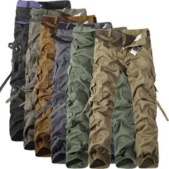 Mixcubic 2019 Spring Autumn Army Tactical Pants Multi-Pocket Washing Loose Army Green Cargo Pants Men Casual Tooling Pants 28-42