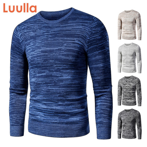 Men Autumn New Casual Vintage Mixed Color Cotton Fleece Sweater Pullovers Men Winter O-Neck Fashion Warm Thick Jacquard Sweaters