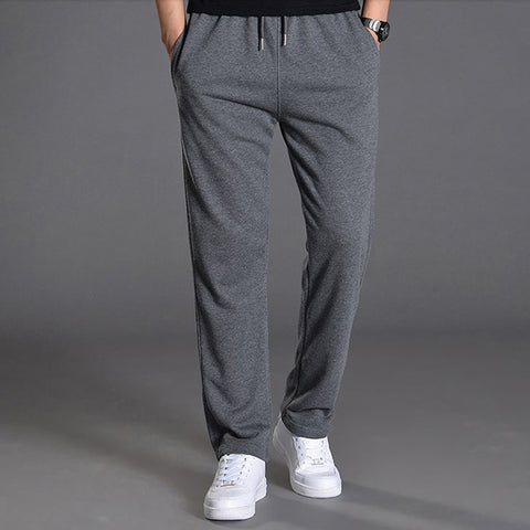 Men Autumn Summer Sports Running Pants Pockets Training Elastic Waist Jogging Casual Trousers Sweatpants Solid