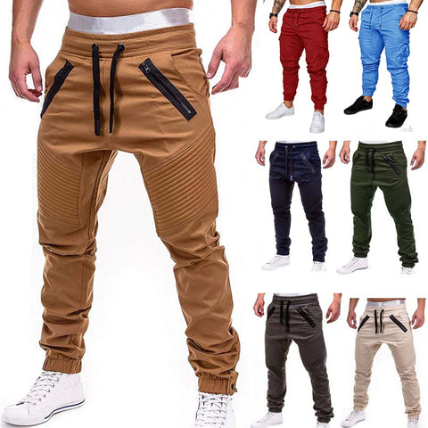 Men Casual Joggers Pants Solid Thin Cargo Sweatpants Male Multi-Pocket Trousers New Mens Sportswear Hip Hop Harem Pencil Pants