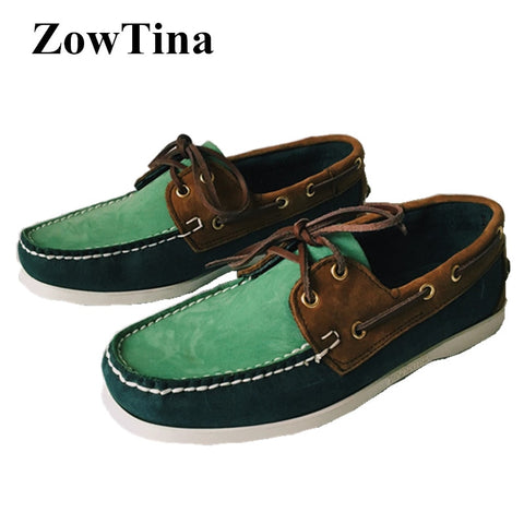 Men Fashion Casual Loafers Lace Up Boat Shoes Creeper Huarache Top Cow Leather Sapatos Masculino Large Size 46 Driving Shoes