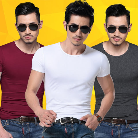 Men Tshirt Spandex Fitness Gym Clothing Man Tops Tees T Shirt For Male Solid Color Tshirts Multi Colors T-Shirt Xs-Xxl